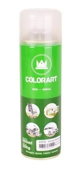Verniz Acrílico Brilhante Spray Uso Geral Colorart 300ml