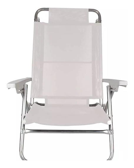 Cadeira De Praia Reclinável Alumínio Mor 2107 Branca