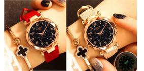 2 Relógios De Pulso Feminino Céu Estrelado Vermelho Marrom
