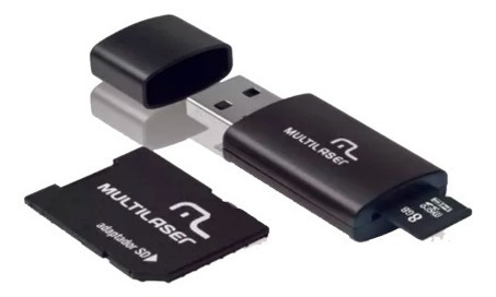 Cartao De Memoria 8gb Multilaser +adaptador Pen Drive Mc058