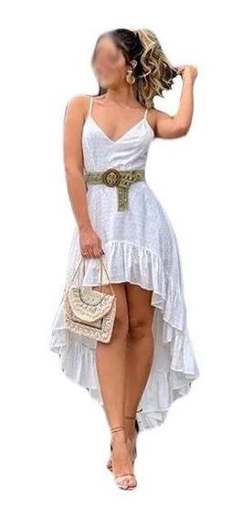 Vestido Feminino Mullet Alcinha Curto Na Frente Longo Atras