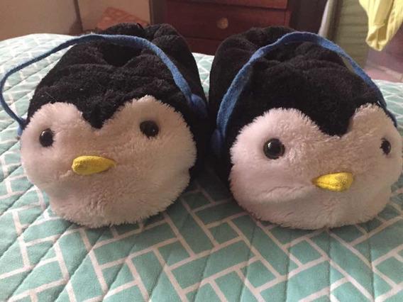 Pantuflas Infantiles De Pingüinos Para Pies De Num 24 A 26