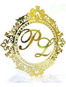Topo De Bolo Em Acrílico Espelhado,escudo,casamento.brasão