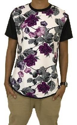 Camisa Blusa Masculina Long Line Floral Swag Atacado