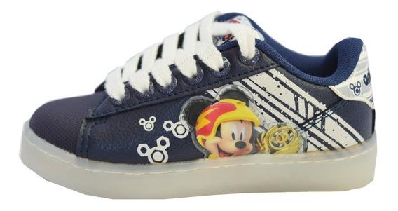 Zapatillas Addnice Led Usb Mickey Racer Azul