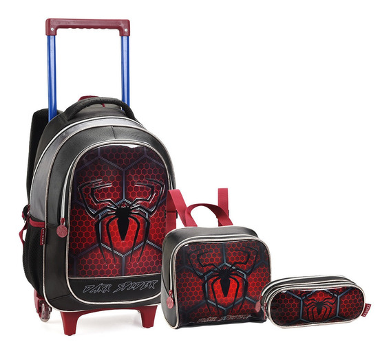 Kit Mochila Infantil Rodinhas Masculina Dark Spider Denlex