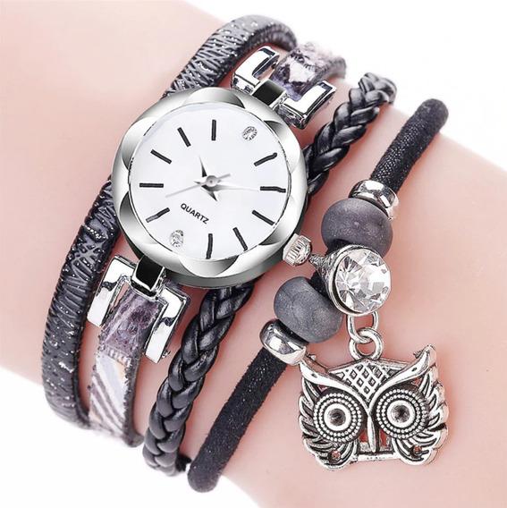 Relógio Feminino Pulseira De Pingente Coruja Barato Promoção