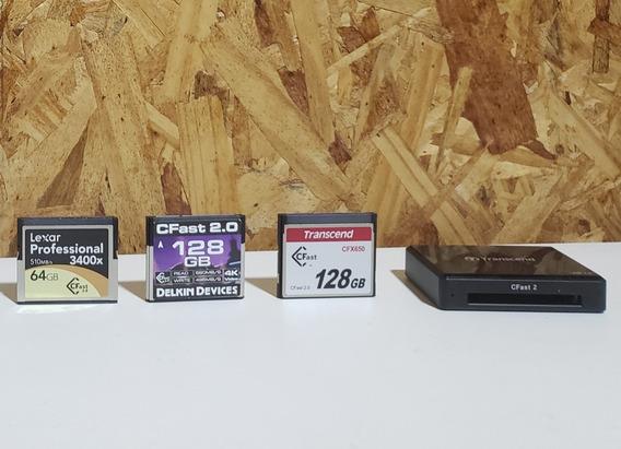 Kit 3 Cartões Cfast 128gb/128gb/64gb + Leitor Transcend