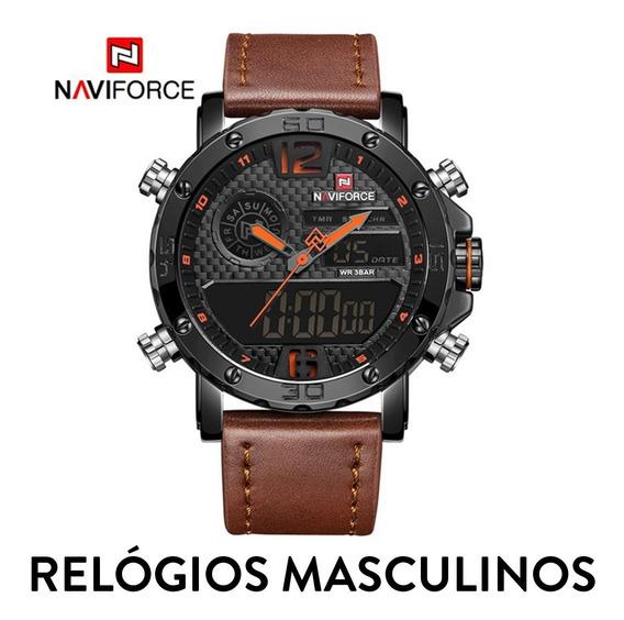 Relógio Masculino Digital Original Naviforce Couro Legitimo