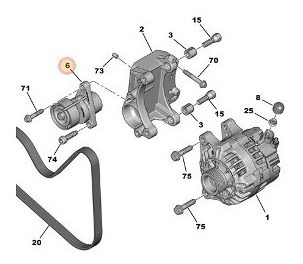 Tensor Alternador Poly V Peugeot 208 1.6 Nafta