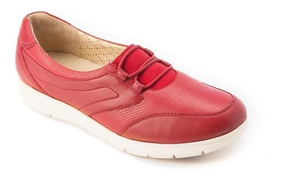 Onena Zapato Deportivo En Piel Rojo Agujeta Elástica 1101