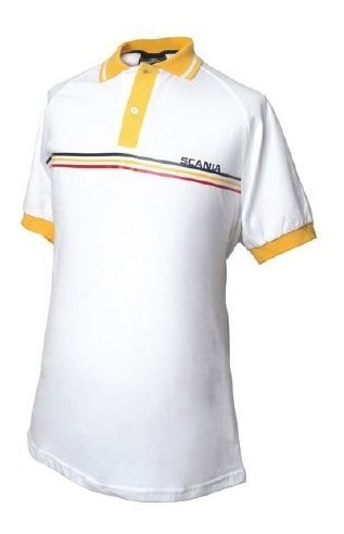 Chomba Blanca Cuello Amarillo Lineas De Colores