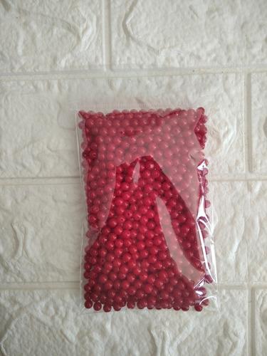 Perlas Artesanías Roja Con Agujero 6 Mm 100g