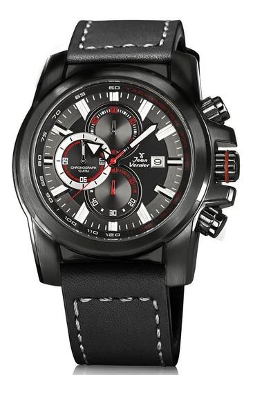 Relógio Jean Vernier Masculino Ref: Jv191 Cronógrafo Black
