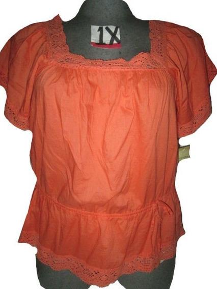 Blusa Casual Naranja Talla Plus Xl/ 1x ( 34/36 ) Americana