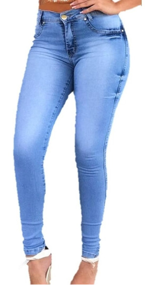 Kit 04 Calças Jeans Feminina Cintura Alta Empina Bumbum