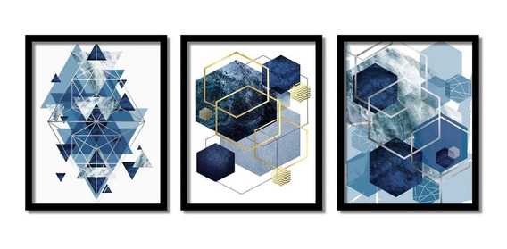 Quadro Abstrato Geométrico Lindos Tons Sala Quarto Hall