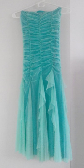 Hermoso Vestido Strapless Fiesta - Color Acqua Talle S/m