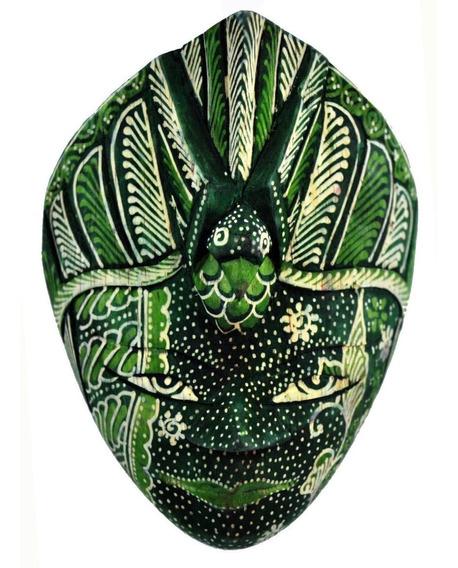 Mascara Batik Tribal Em Madeira - Pavão - Pequena - Verde
