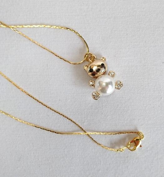 Collar Con Dije De Oso Con Perla Cristales Fantasía