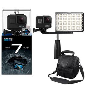 Gopro Hero 7 Black Câmera 4k + Led C/ Garra + Bolsa