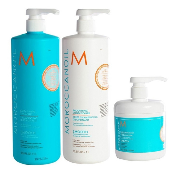 Kit Moroccanoil Smooth Shampoo + Enjuague + Mascara Grande