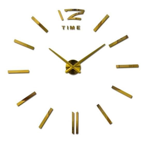 Relógio De Parede Sala Grande Prata Adesivo Decoração Lindo