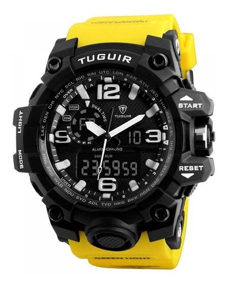 Relógio Amarelo Tuguir A Prova Dágua Original Barato D135