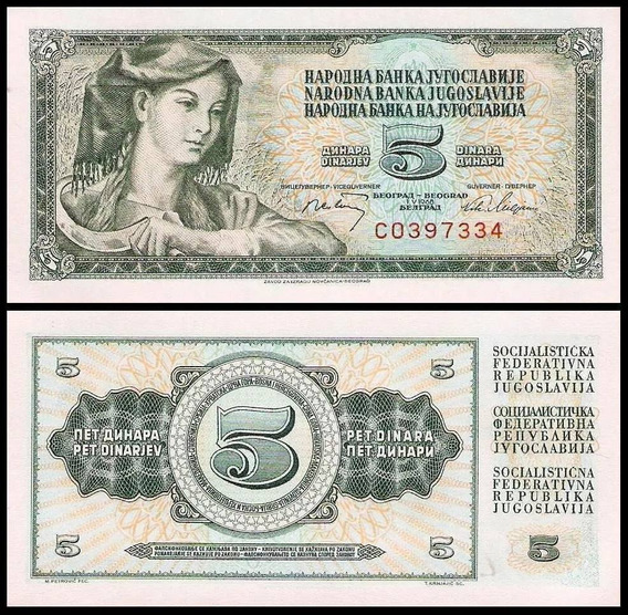L-1723 Linda Cédula Original De 5 Dinara - Iugoslávia 1.968