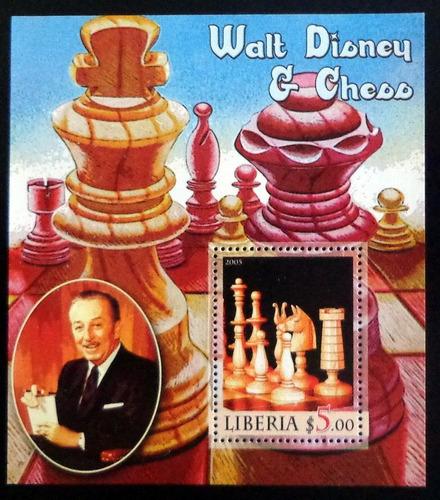 Liberia Ajedrez, Bloque 1 Sello 5p Disney 2005 Mint L7433