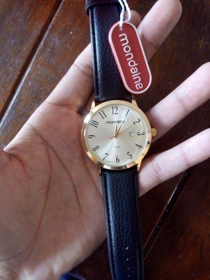 Relógio Dourado Pulseira De Couro