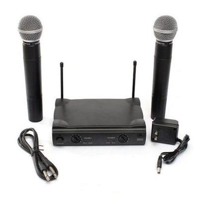 Kit Com 2 Microfones Sem Fio Duplo De Mao Uhf Profissional M