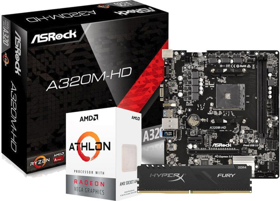 Kit Processador Athlon 3000g A320m-hd Fury 8gb 2666mhz