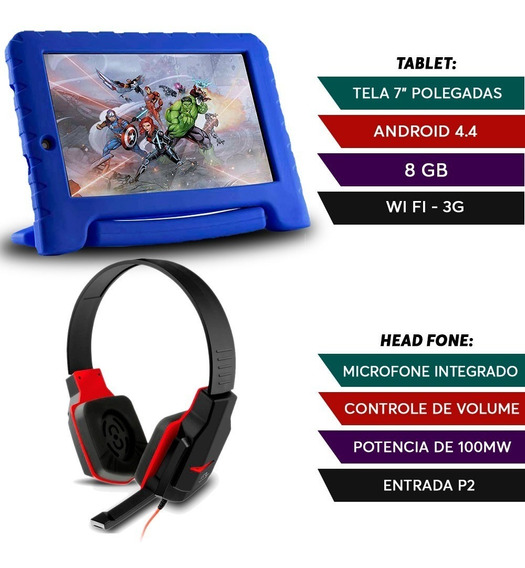 Kit Fone Headset Gamer + Tablet Disney Vingadores.