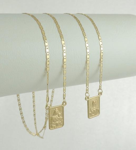 Escapulário Tradicional Cordão Piastrine 60cm Ouro 18k 750