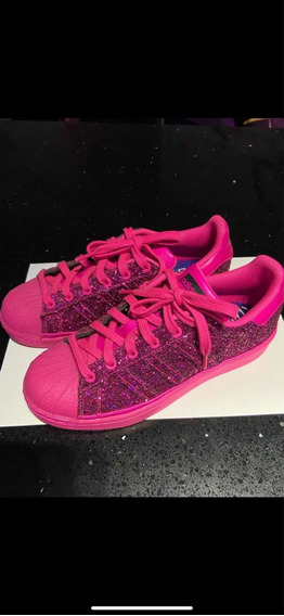 Tênis adidas Rosa Pink Com Glitter Superstar