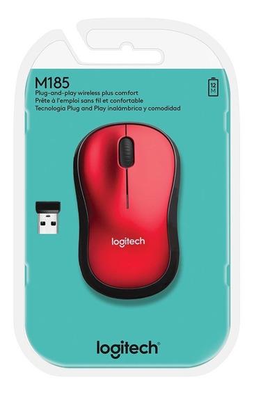 Mouse Logitech M185 Sem Fio Vermelho Original Lacrado