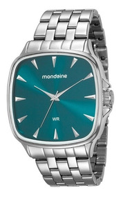 Relógio Mondaine Feminino Quadrado Prata Verde 76626l0mvne1