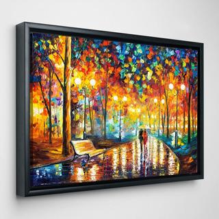 Cuadro L. Afremov Lluvia Pareja Abstracto En Canvas Con Licencia De Reproducción Del Artista 80x110cm Con Marco
