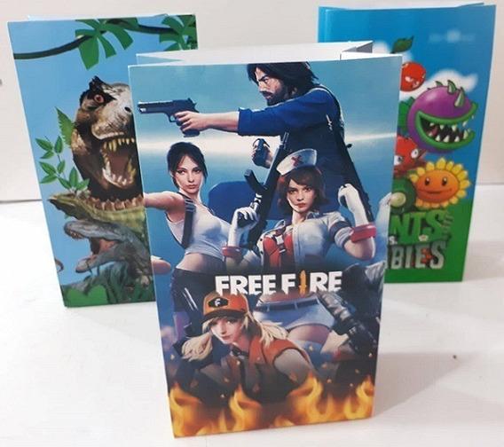 10 Bolsas Papel Free Fire Ideal Souvenir Fiestissima Liniers