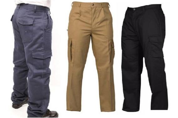 Pantalon Cargo - Talle 40 Al 60 - Azul Beige Negro - Somos Fabricantes - Porteria Trabajo Seguridad - C