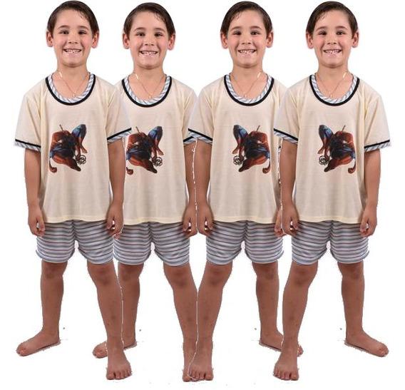 Kit 10 Pçs Pijama Infantil Masculino Short Camisa Ref 164