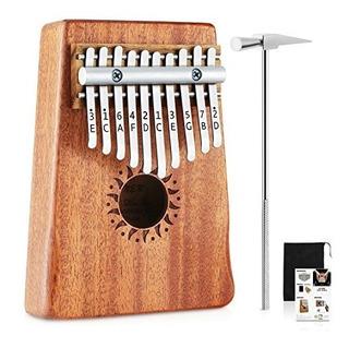 Donner 10 Teclas Kalimba Thumb Piano Dedo Sólido Piano Caob