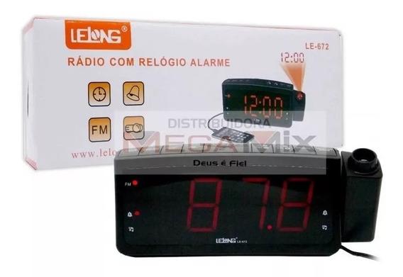 Rádio Relógio Despertador Lelong Le-672 Fm Usb E Projetor Hr