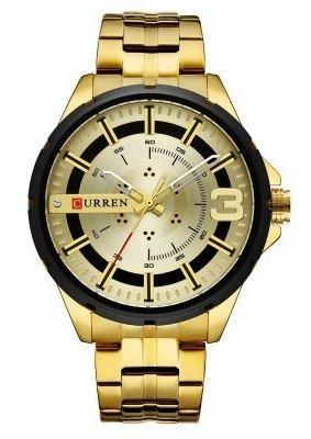 Relógio De Pulso Masculino Curren Luxo Dourado