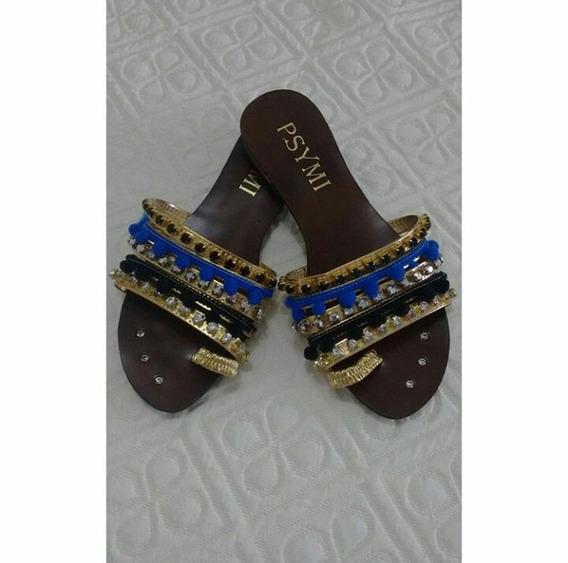 Rasteirinha Com Detalhes Em Azul E Dourado - Tamanho 36