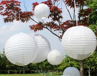 10 Lanterna Branca Japonesa Chinesa Balão Decoração 25cm