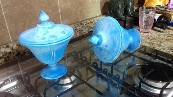 Bomboneras Opalinas Azul Turquesa.
