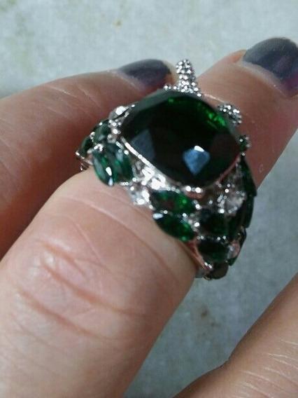 Anel Feminino Pedra Verde Esmeralda Zircon