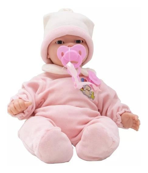Boneca Bebe Carinhas 45cm - Baby Brink Somente Hoje